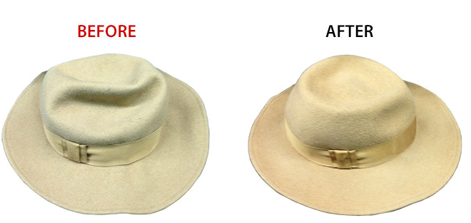 hat cleaning before and after
