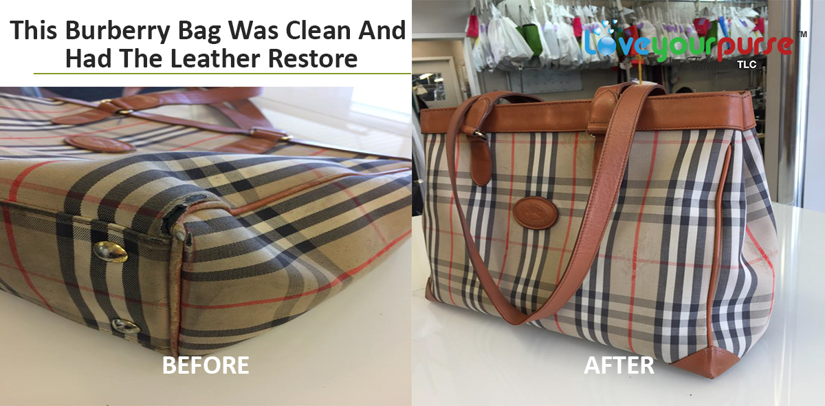 This Burberry bag was professionally cleaning and had the leather restored 9d6cdd0fc96ac